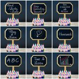 Photo collage of wooden mini blackboard labels on the theme Educate Yourself Stock Photo