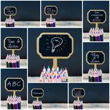 Photo collage of wooden mini blackboard labels on the theme Educate Yourself Royalty Free Stock Photo