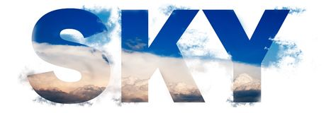 Photo collage word sky with clouds. Beautiful summer photo collage word sky with clouds royalty free illustration