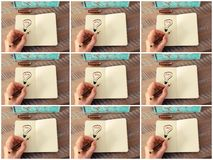 Photo collage with years 2016 to 2024 as symbol for bright idea. Photo collage of woman hand drawing a lighting bulb on a notebook. Years 2016,2017,2018,2019 royalty free illustration