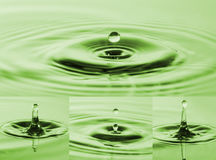 Photo Collection of drops falling into water.Splashes of water. Stock Images