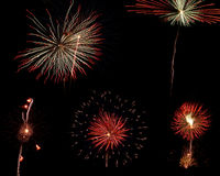 Photo-collection of five fireworks. On black background Stock Images