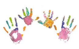 Photo of colored hand prints Royalty Free Stock Images