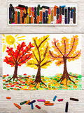 Drawing: Autumn landscape, trees with yellow, orange and red leaves Stock Photos