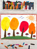 Drawing: Autumn landscape, trees with yellow, orange and red leaves Royalty Free Stock Photos