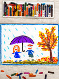 drawing: Autumn rain, Smiling couple holding umbrella royalty free stock images