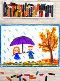 Drawing: Autumn rain, Smiling couple holding umbrella. Photo of colorful drawing: Autumn rain, Smiling couple holding umbrella royalty free stock images