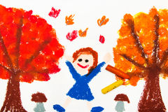 Drawing: Autumn trees with yellow and red leaves and happy little girl. Stock Image