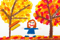 Drawing: Autumn trees with yellow and red leaves and happy little girl. Royalty Free Stock Photo
