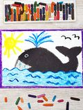 Drawing: big whale and water. Photo of colorful drawing: big whale and water royalty free stock photo