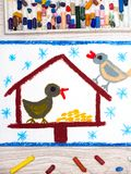 Colorful drawing: Bird feeder, winter and two cute birds. Feeder for the birds Stock Photo