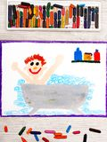 Drawing: boy in the bathtub. Photo of colorful drawing: boy in the bathtub Royalty Free Stock Photography