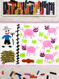 Colorful drawing: Breeding pigs Royalty Free Stock Photos