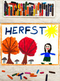 Drawing: Dutch word Autumn, smiling little girl, trees with orange and red leaves, Royalty Free Stock Image