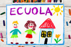 Photo of colorful drawing: Italian word SCHOOL,. School building and happy children. First day at school Stock Photos