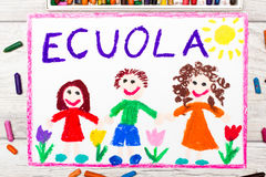 Photo of  colorful drawing: Italian word SCHOOL. And happy children. First day at school Stock Image