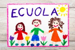 Drawing: Italian word SCHOOL and happy children. First day at school. Stock Photos