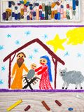 Colorful drawing: Nativity scene. Christmas time. Photo of colorful drawing: Nativity scene. Christmas time Royalty Free Stock Photos