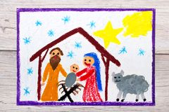 Colorful drawing: Nativity scene. Christmas time. Photo of colorful drawing: Nativity scene. Christmas time Stock Images