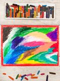 Colorful drawing and oil pastels crayons, texture for background. Photo of colorful drawing and oil pastels crayons, texture for background Stock Photography