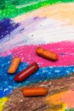 Photo of colorful drawing and oil pastels crayons,. Texture for background. Selective focus Royalty Free Stock Image
