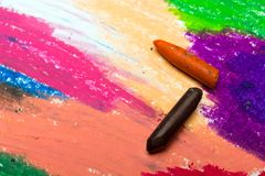 Photo of colorful drawing and oil pastels crayons,. Texture for background. Selective focus Stock Photo