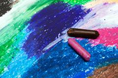 Colorful drawing and oil pastels crayons, texture for background. Photo of colorful drawing and oil pastels crayons, texture for background. Selective focus Royalty Free Stock Photography