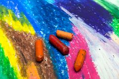 Colorful drawing and oil pastels crayons, texture for background. Photo of colorful drawing and oil pastels crayons, texture for background. Selective focus Stock Images