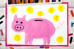 Drawing: Pink piggy bank and coins. Stock Images