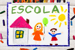 Photo of colorful drawing: Portuguese Word SCHOOL. School building and happy children. First day at school Stock Images