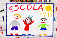 Photo of  colorful drawing: Portuguese Word SCHOOL. And happy children. First day at school Royalty Free Stock Images