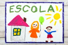 Drawing: Portuguese Word SCHOOL, school building and happy children. First day at school. Stock Photo