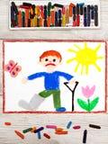 Drawing: Sad boy with broken leg. Photo of colorful drawing: Sad boy with broken leg stock illustration