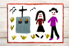 Drawing: Sad couple and grave. Royalty Free Stock Photo
