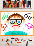 Drawing: Sad and crying boy with his grasses. Photo of colorful drawing: Sad and crying boy with his grasses. Defect of vision Stock Photo