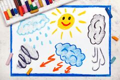 Drawing: Seasons and weather. Hand drawn weather illustrations: sun, rain, wind, storm
