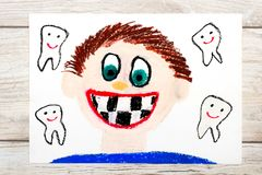 Drawing: Smiling boy without milk teeth.  Losing baby teeth. Stock Photo