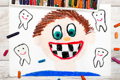 Drawing: Smiling boy without milk teeth.  Losing baby teeth. Stock Images