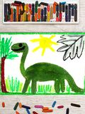 Drawing: Smiling dinosaur. Big green diplodocus. Photo of colorful  drawing: Smiling dinosaur. Big green diplodocus Stock Image