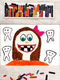 Drawing: Smiling girl without milk teeth.  Losing baby teeth. Photo of colorful drawing: Smiling girl without milk teeth.  Losing baby teeth Royalty Free Stock Image
