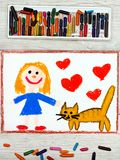 Drawing: Smiling little girl and her cute cat. Photo of colorful drawing: Smiling little girl and her cute cat royalty free stock images