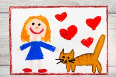 Drawing: Smiling little girl and her cute cat. Photo of colorful drawing: Smiling little girl and her cute cat royalty free stock photography