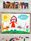 Drawing: Smiling little girl and her cute cats royalty free stock photo