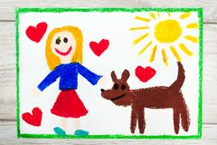 Drawing: Smiling little girl and her cute dog. Photo of colorful drawing: Smiling little girl and her cute dog Royalty Free Stock Photography