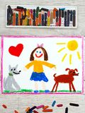 Drawing: Smiling little girl and her cute dogs. Photo of colorful drawing: Smiling little girl and her cute dogs Stock Photo