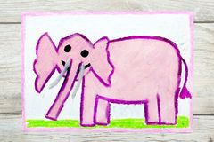 Drawing: Smiling pink elephant vector illustration