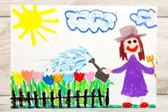Drawing: Smiling woman watering flowers in the garden Royalty Free Stock Image