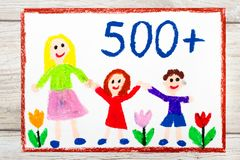 Drawing: Social policy in Poland - social program to support families. Stock Image