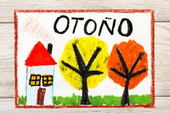 Drawing: Spanish word AUTUMN, house and trees with yellow and orange leaves Royalty Free Stock Photography