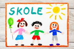 Drawing: Swedish word SCHOOL and happy children. First day at school. Stock Photo